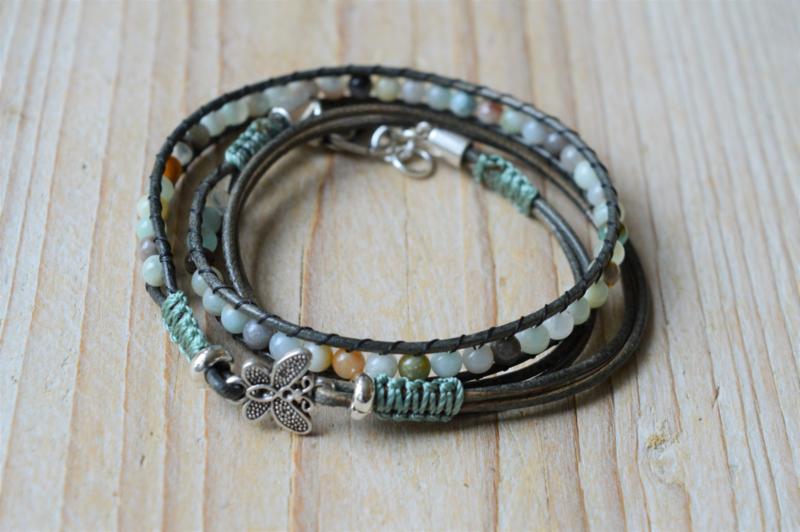 3-Wraparmband met 4 mm Meerkleurig Amazoniet en metalen tussenstuk vlinder