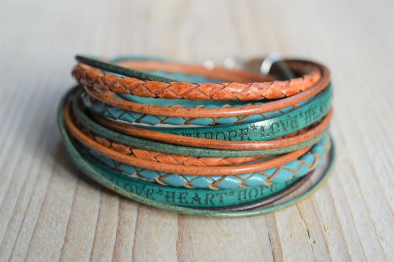 Leather Wrap XL Brown/Turquoise