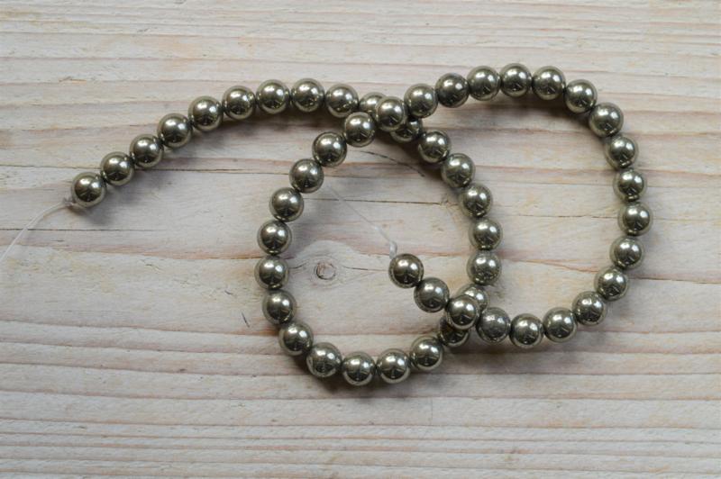 Pyrit runde Perlen 8 mm