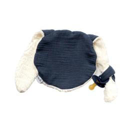 Knijn speendoekje | denim blauw & teddy