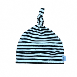 Knoopmutsje Newborn | Off-white&black streep