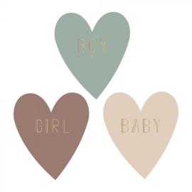 Stickers Multi | Baby Hart Tekst - Goud | 55MM