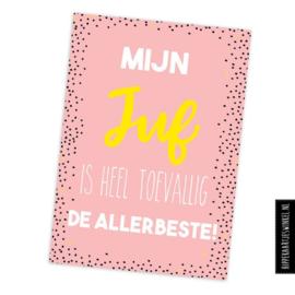 Juf kaart | A6 roze
