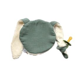 Knijn speendoekje | oud poedergroen & teddy