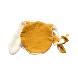 Knijn speendoekje | okergeel & teddy