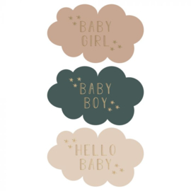 Stickers multi | Baby Cloud Text | Gold - 55MM