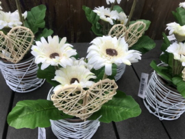 bruiloftdecoratie, tafeldecoratie, glazen pot met zijde gerbera
