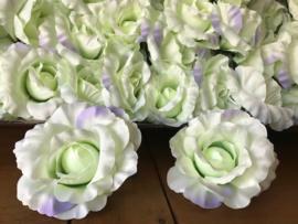 Kunstbloemen rozen pistache groen, satijn diameter 14 cm