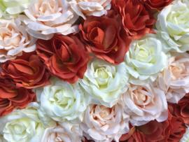 Flower wall/bloemenwand paneel 40x60 cm multi color rozen, diagonaal