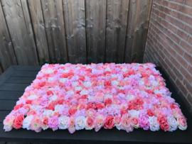 Flowerwall/bloemenmuur peach mix roze 120x80 cm
