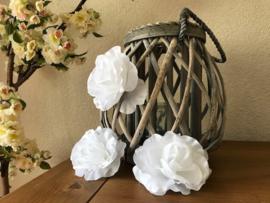Kunstbloemen witte rozen, diameter 10 cm