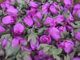 Kunstbloemen roze rozen in de knop, 5 cm