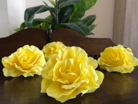 Kunstbloemen gele rozen, diameter 10 cm
