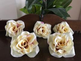 Kunstbloemen rozen creme/paars-roze diameter 12 cm