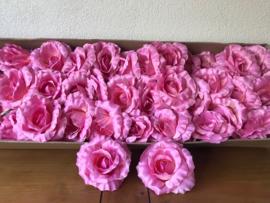 Kunstbloemen rozen donker roze, satijn diameter 14 cm