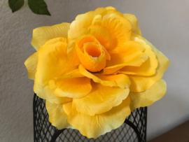 Kunstbloemen rozen geel, diameter 12 cm
