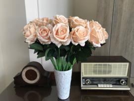 Kunstbloemen rozen peach kleur, 50 cm
