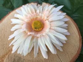 Kunstbloemen, gerbera, lichtgeel/peach 14 cm