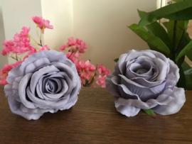 Zijde kunstbloemen rozen licht grijs diameter 11 cm