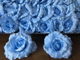 Kunstbloemen rozen baby blauw, satijn diameter 14 cm