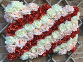 Flower wall/bloemenwand paneel 40x60 multi color rozen, diagonaal