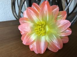 Kunstbloemen dahlia roze met geel hart 12 cm