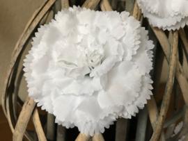 Kunstbloemen anjers wit diameter 9 cm