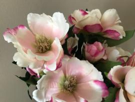 Kunstbloemen, boeket magnolia's creme/roze 54 cm
