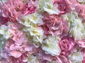 Flower wall/bloemenwand paneel roze/creme 40x60 cm bruiloft