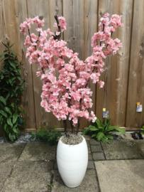 Bloesem kunstboom 105 cm, stam van echt hout, staand in een stenen witte pot