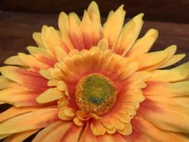 Kunstbloemen gerbera geel 14 cm