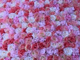 Flowerwall/kunstbloemenpaneel beauty-salon peach/roze 120x80 cm