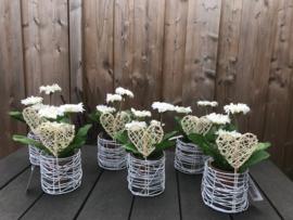 bruiloft decoratie, tafelversiering gerbera in een witte glazen pot