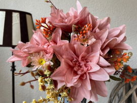 Kunstbloemen boeket dahlia's oud roze 35 cm