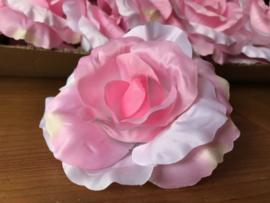 Kunstbloemen roze rozen satijn, diameter 14 cm