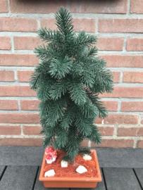 Kunstboom, naaldboom op stam van echt hout, 55 cm