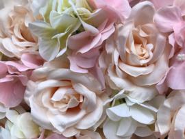 Flower wall/bloemenwand paneel 40x60 cm roze/creme/peach bruiloft