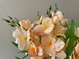 Kunstbloemen gladiolen peach met blad 55 cm