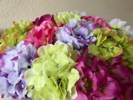Kunstbloemen hortensia, mix van kleuren, 42 cm