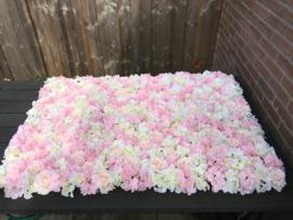 Flowerwall peach, gebroken-wit, roze 120x80 cm