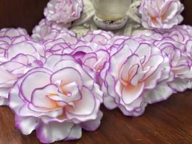 Kunstbloemen rozen wit met paarse rand, diameter 10 cm