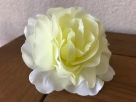 Kunstbloemen rozen, creme/lichtgeel hart, diameter 10 cm