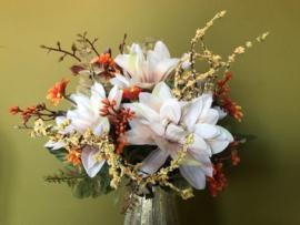 Kunstbloemen boeket dahlia's peachkleur 35 cm