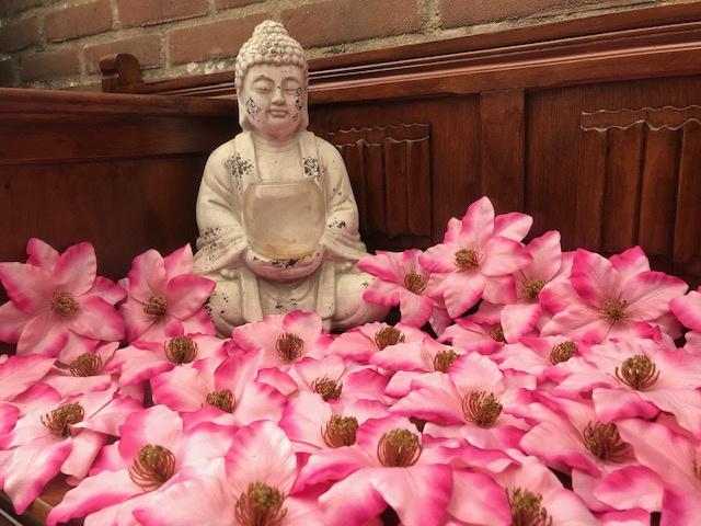 Kunstbloemen clematis roze, 12 cm
