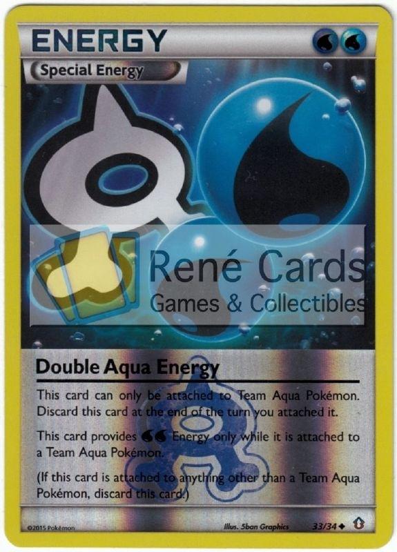 DOUBLE AQUA ENERGY 33//34 POKEMON CARD XY DOUBLE CRISIS