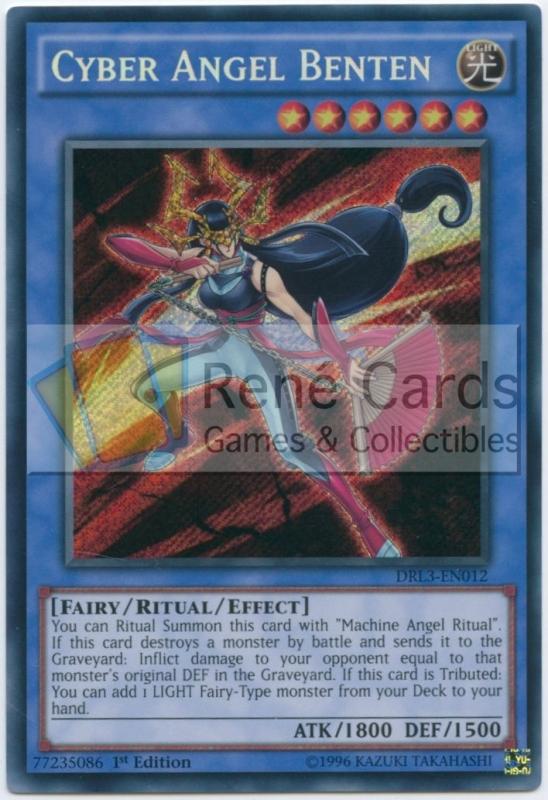 Yugioh CYBER ANGEL BENTEN SECRET RARE DRL3-EN012 NEAR MINT 1st ED