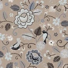 Bloemen en vogels naturel/grijs/taupe