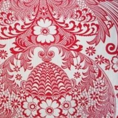 Wit met rode opdruk