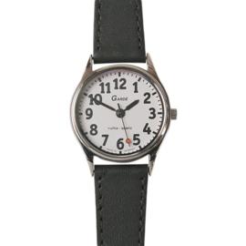 Slechtzienden horloge met grote cijfers voor dames, Gardé horloge met witte wijzerplaat van 21 mm