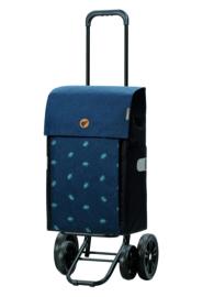 Boodschappenwagen met 4 wielen, ook om te duwen, Quattro Shopper Ando Blauw